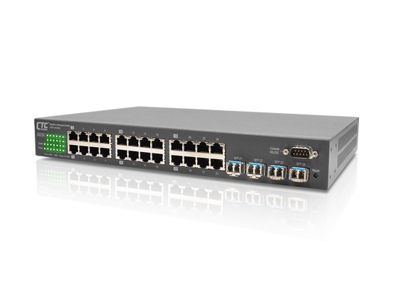 20x GbE, RJ45 + 4x GbE Combo (SFP or RJ45) L2+ Managed Switch