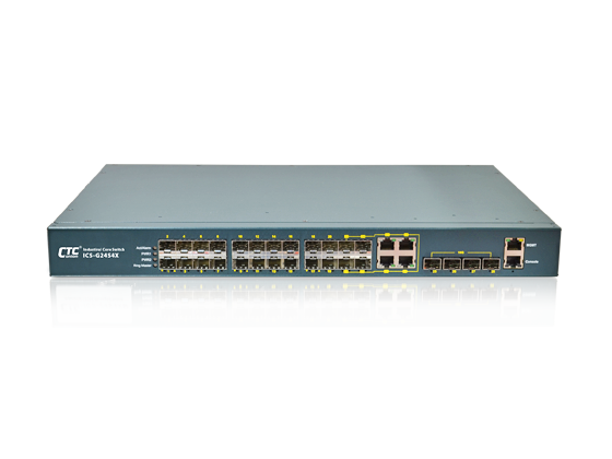 Industrial Core Switch - 24x100/1000Base-X SFP with 4x Combo, and 2x(4x) 10GbE SFP+