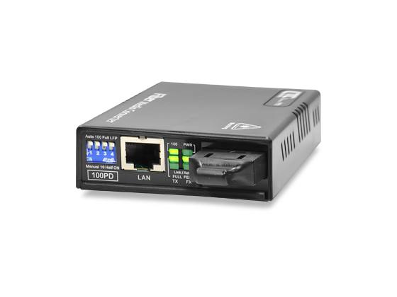10/100Base–TX to 100Base–FX PoE PD Media Converter