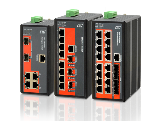 Industrial Ethernet Switch - (4x, 8x, 16x) 10/100Base-TX+ (2x, 3x, 4x) 100/1000Base-X SFP