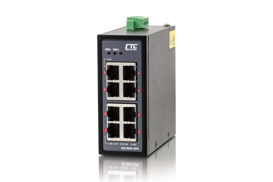 Industrial Unmanaged GbE PoE Switch: IGS-800C-8PH