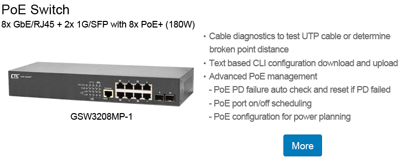 PoE Switch:GSW3208MP-1