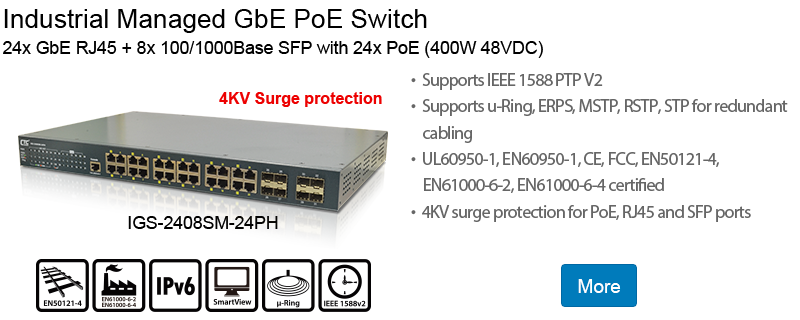 Industrial Managed GbE PoE Switch: IGS-2408SM-24PH